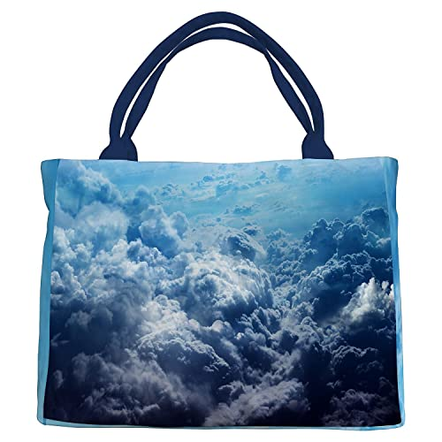 1ceaf653440f Amazon.com  Custom Blue Sky White Clouds Canvas Shoulder Bags Handbags Tote  Bags Shopping Bag  Shoes