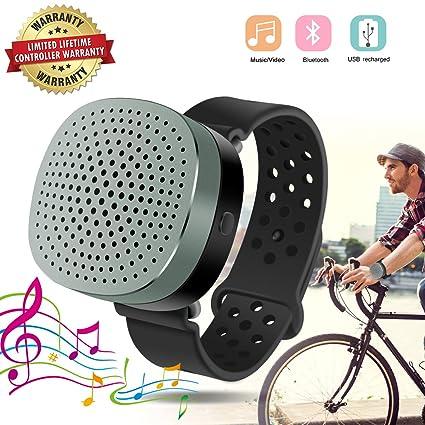 Bluetooth reloj inteligente altavoz portátil Bluetooth inalámbrico reloj pulsera elegante pulsera altavoz muñeca reproductor de música compatible con USB recargado (Black)