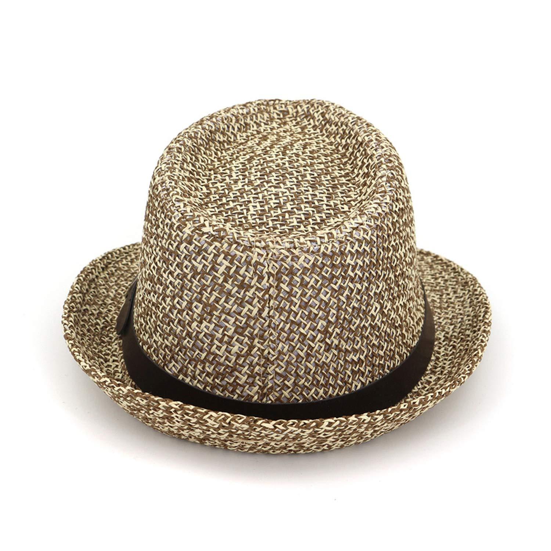 KKONION Summer Women Men Straw Jazz Cap hat Beach Sunhat Panama Fedoras Chapeau Dance hat Headgear for Unisex