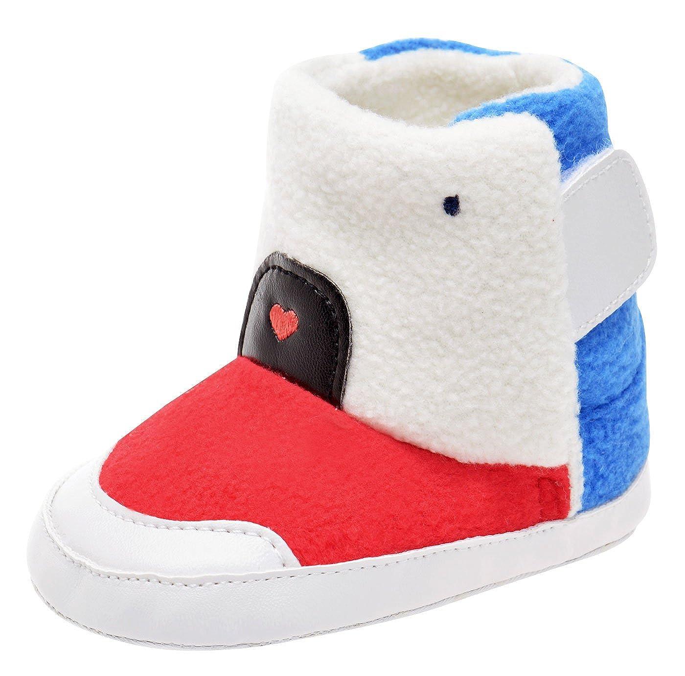 Happy Cherry Bottes de Neige en Velours Bébé Fille Garçon Chaussures Premier Pas Marche Souples Antidérapants pour Automne Hiver Taille 18-22