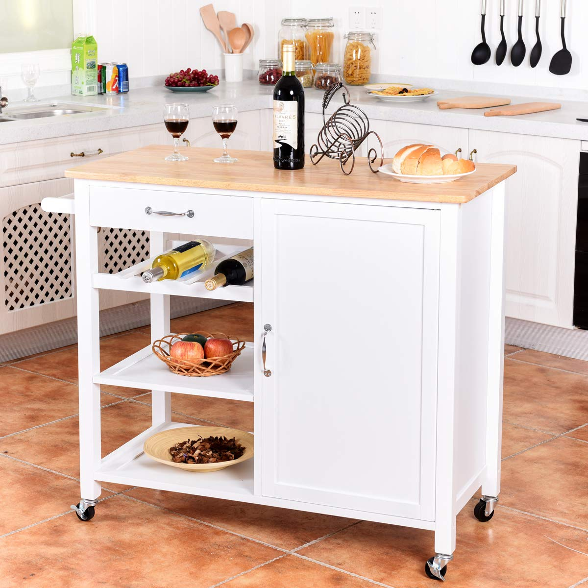 Giantex Kitchen Trolley Cart w/Wheels Rolling Storage Cabinet Wooden Table Multi-Function Island Cart Kitchen Truck (White) by Giantex (Image #3)