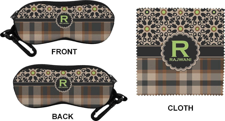 Personalized Moroccan Mosaic /& Plaid Eyeglass Case /& Cloth