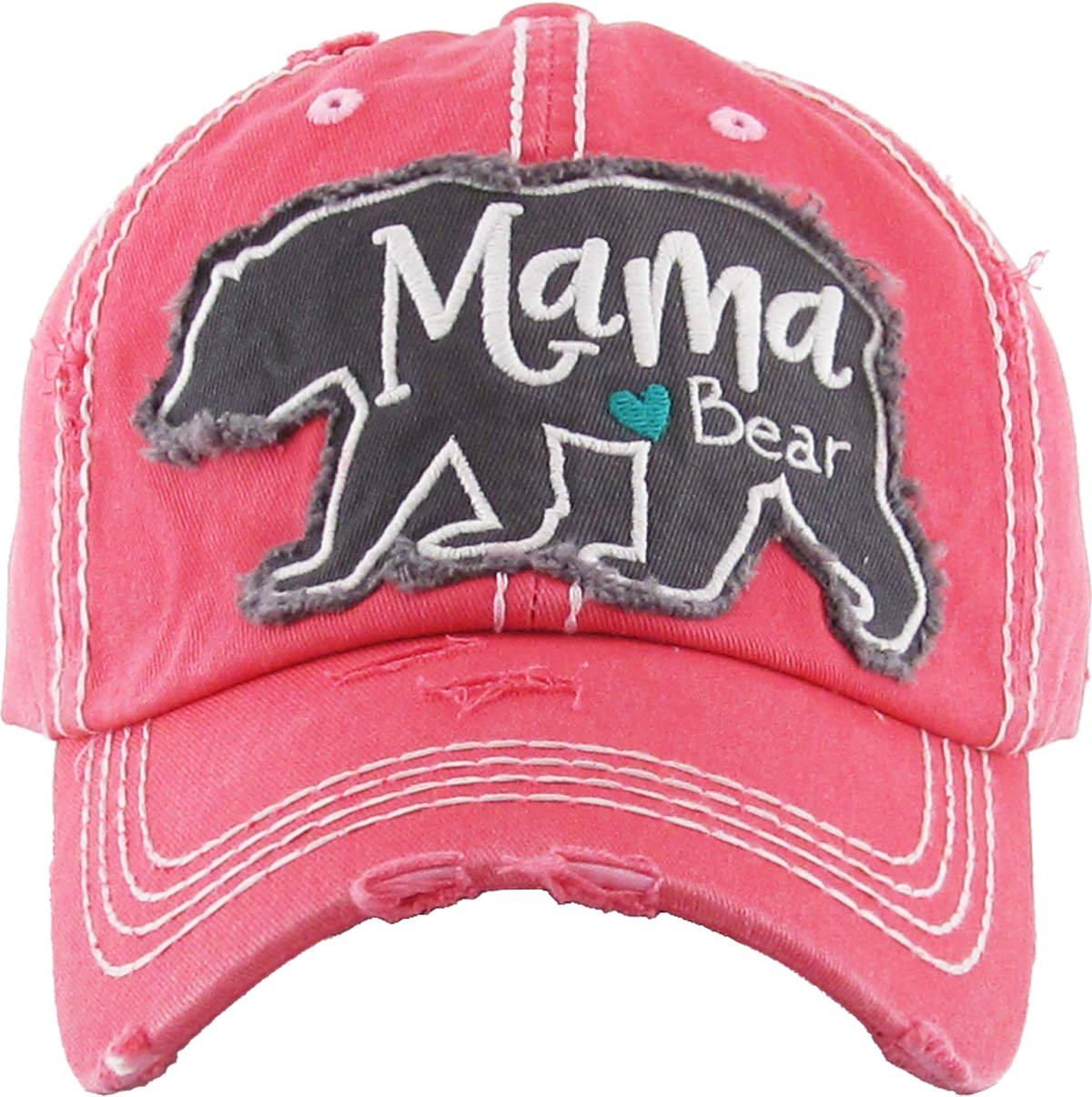 Funky Junque H-212-MBEAR52 Distressed Baseball Cap Vintage Dad Hat - Mama (Large) Bear (Coral)