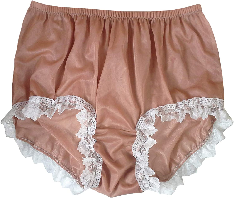 Vintage Style Silky Nylon Panties Briefs Hipster Panty Underwear Lingeries Black