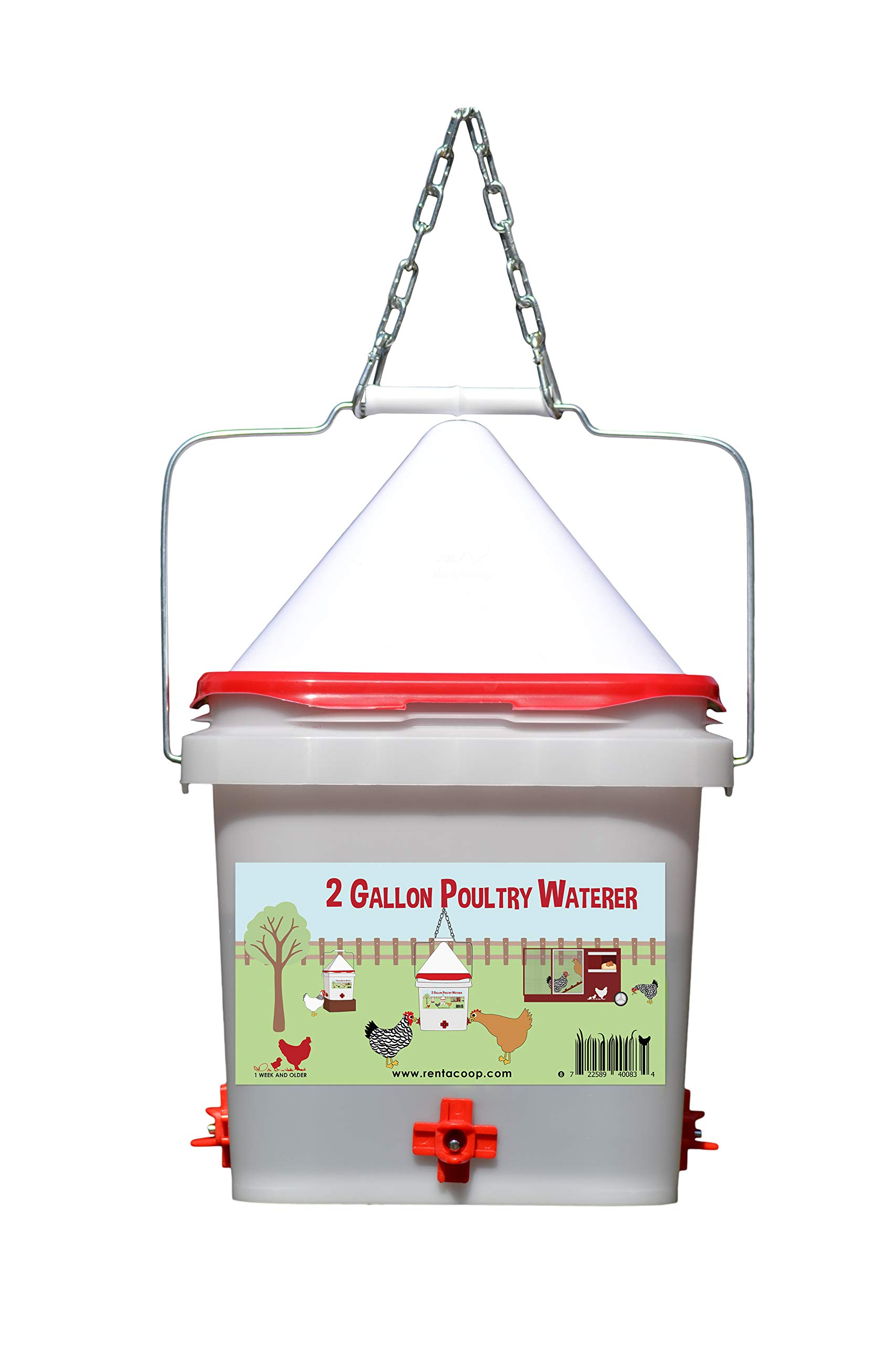 2 Gallon Chicken Waterer - Horizontal Nipple Setup (4 Nipple) by RentACoop