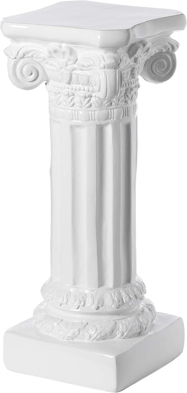 Uniquewise Decor White Fiberglass Roman Style Column Pedestal, Display Flower Vase Stand, 32