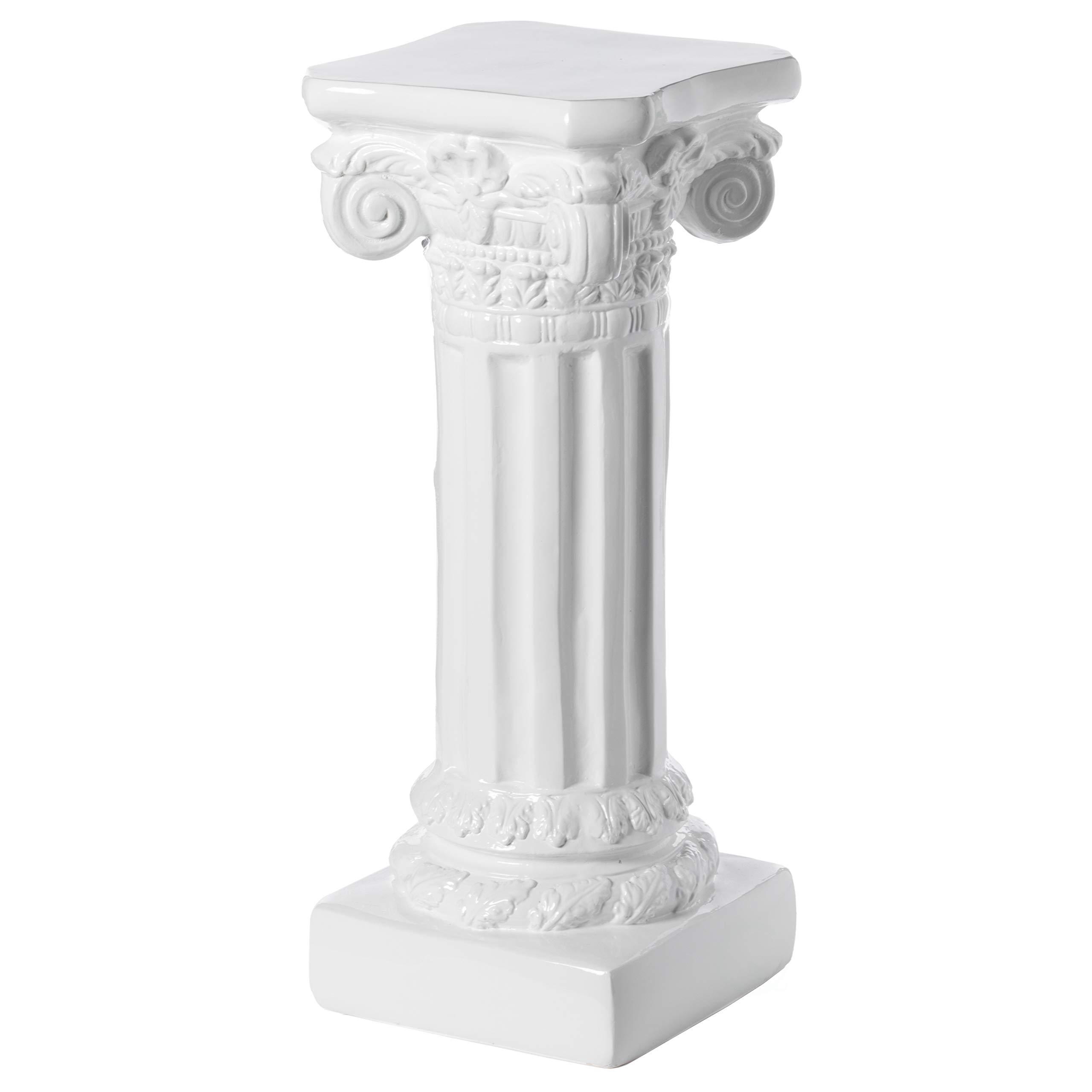 "Uniquewise Decor White Fiberglass Roman Style Column Pedestal, Display Flower Vase Stand, 32"", High"