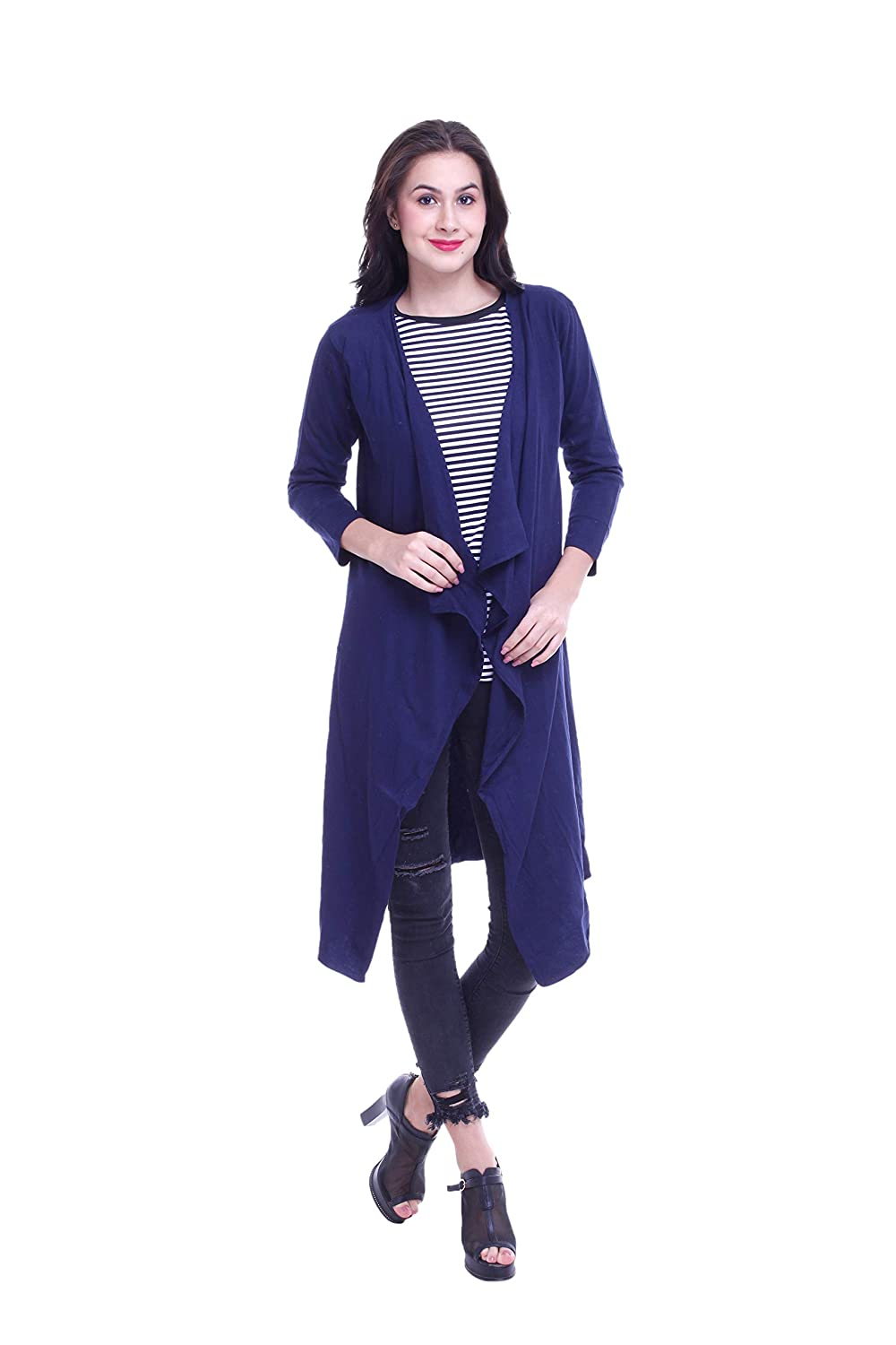 Buy Rane Women's Solid Cotton Long Shrug Blue at Amazon.in