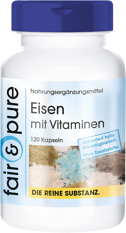 Hierro con Vitaminas - Suplemento de Hierro con Vitamina C, Biotina y Vitamina B12 - Vegano - Alta pureza - 120 Cápsulas