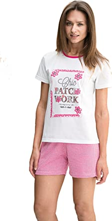 EVEN Pijama de Verano Corto para Mujer Fabricado en España (7864) Blanco y Fucsia (XL): Amazon.es: Ropa y accesorios