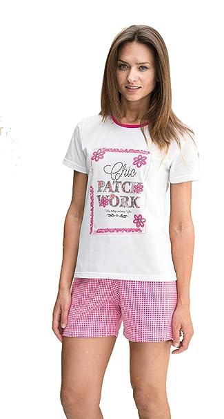 Pijama de verano corto para mujer Even fabricado en España (7864) blanco y fucsia