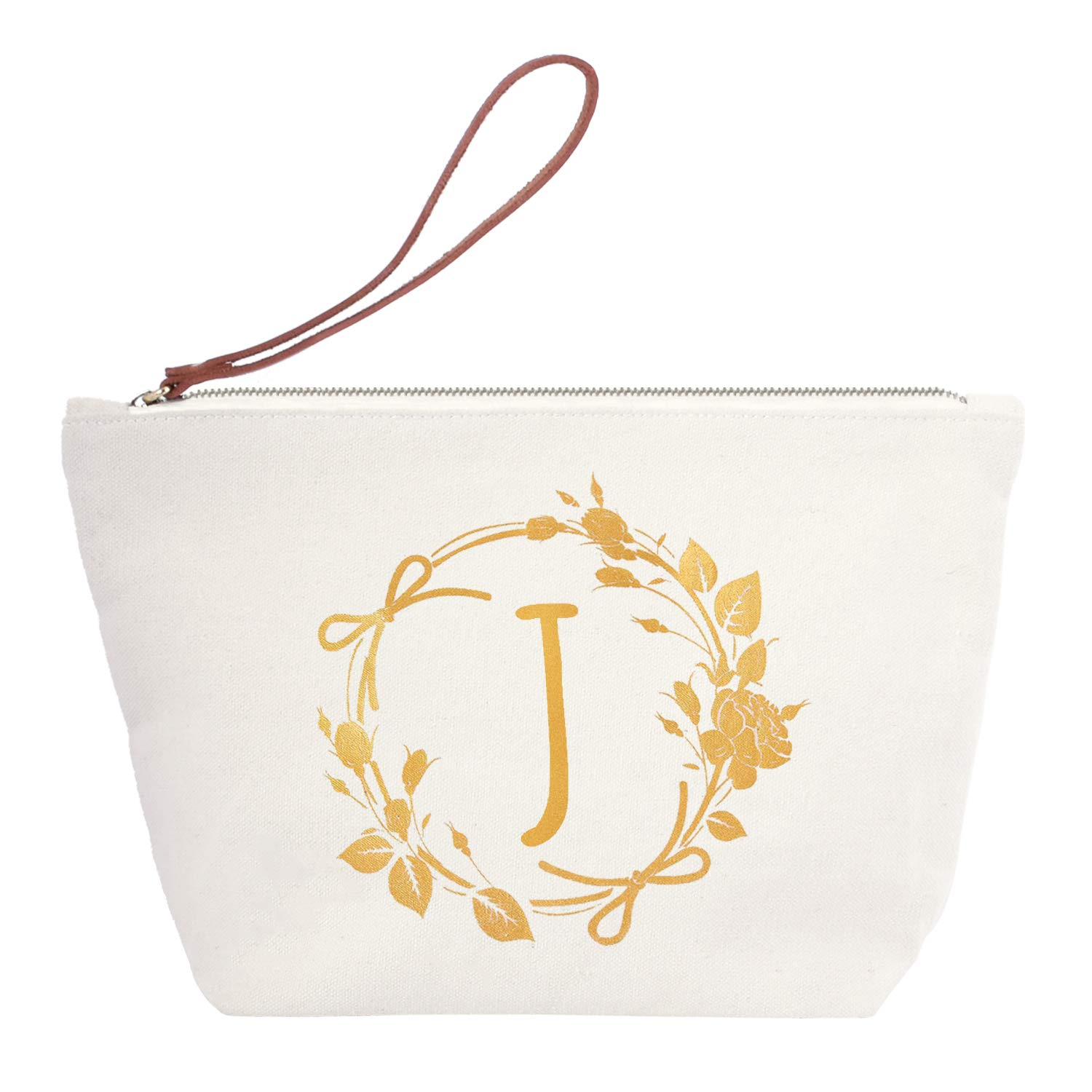 ElegantPark J Initial Monogram Personalized Travel Makeup Cosmetic Bag Wristlet Pouch Gifts with Zipper Canvas
