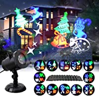 GAXmi Christmas Projector Lights 12 Moving Changeable Patterns LED Spotlight Waterproof Indoor Outdoor Landscape Lighting for Halloween Wedding Birthday Valentines Party National Day