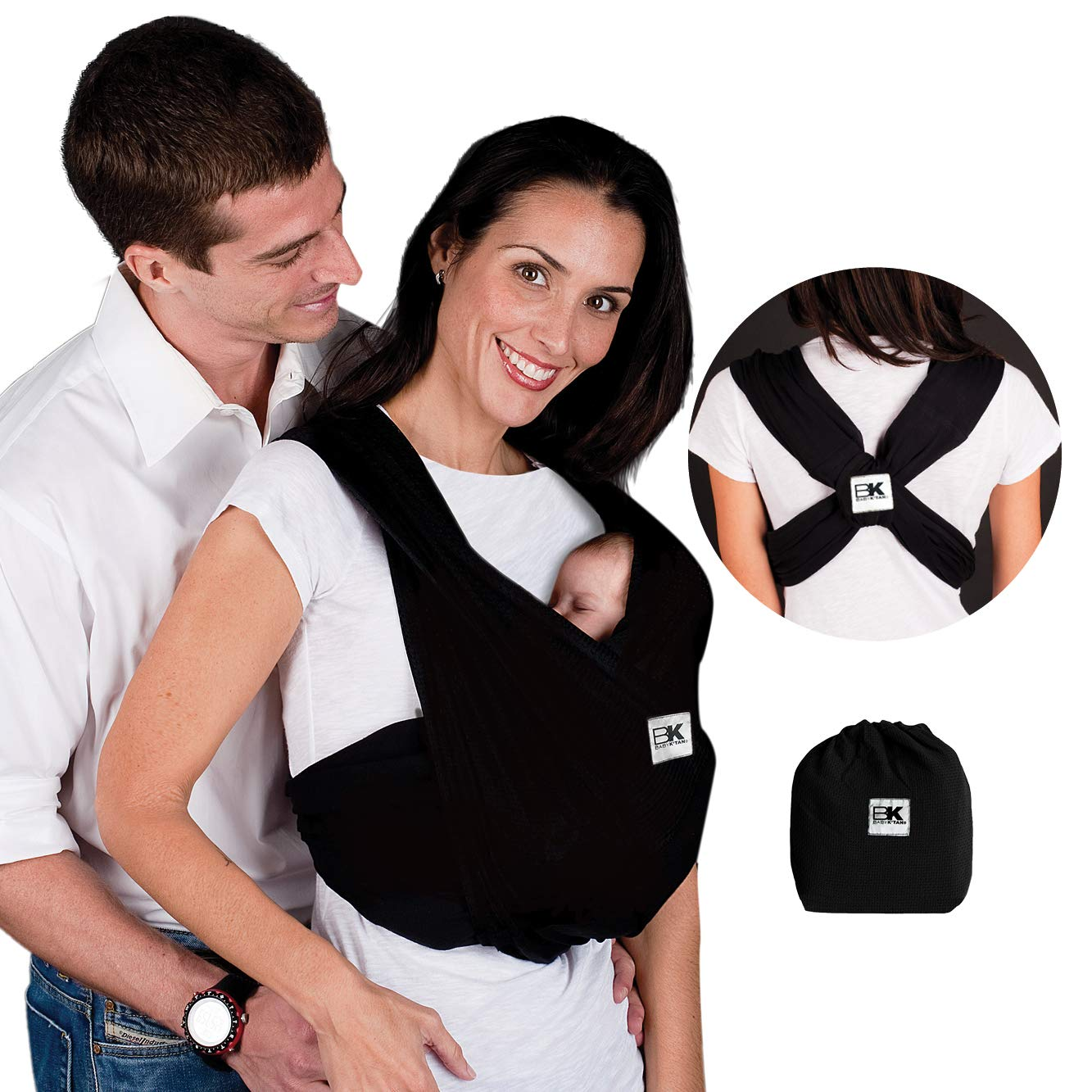 Baby K'tan Original Baby Wrap Carrier, Infant and Child Sling - Simple Wrap Holder for Babywearing - No Rings or Buckles - Carry Newborn up to 35 lbs, Black, ,Women 10-14 (Medium), Men 39-42.