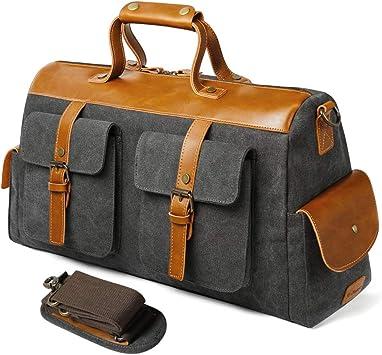 Leather Duffle Bag Weekend Bag for Men /& Women Zipper Travel Tote Large