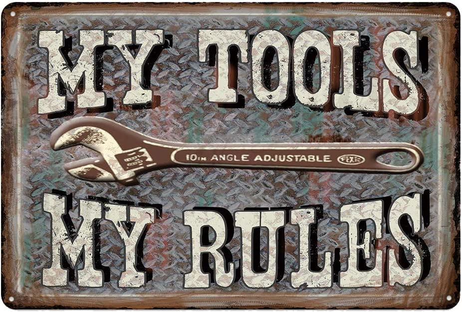metal tin sign My Tools My Rules for Bar Cafe Garage Wall Decor Retro Vintage 7.87 X 11.8 inches