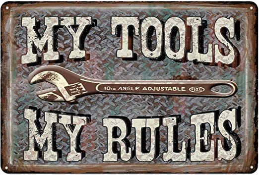 Bar or Man Cave Novelty Tin Wall Sign My Garage My Rules Great Decor for Garage