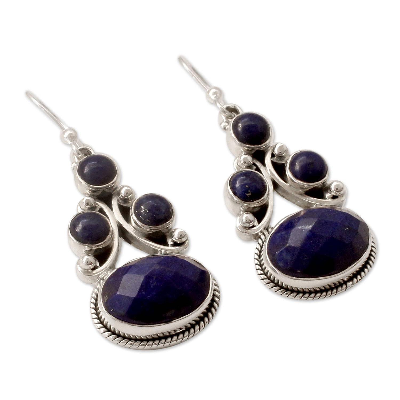 NOVICA Lapis Lazuli .925 Sterling Silver Dangle Earrings Love Foretold