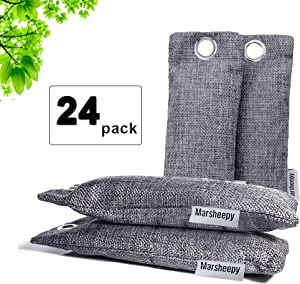Marsheepy 24 Pack Natural Bamboo Activated Charcoal Air Purifying Bags, Shoe Deodorizer and Odor Remover (75g x 24 Pack)