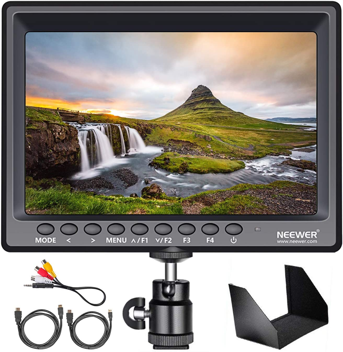 16:10 Ratio; for Sony Canon Nikon Olympus; Includes 1 US Plug Charger 1 Mini HDMI Cable 1 AV Cable for FPV, Neewer NW759 7 Inches 1280x800 IPS Screen Camera Field Monitor Battery Not Included