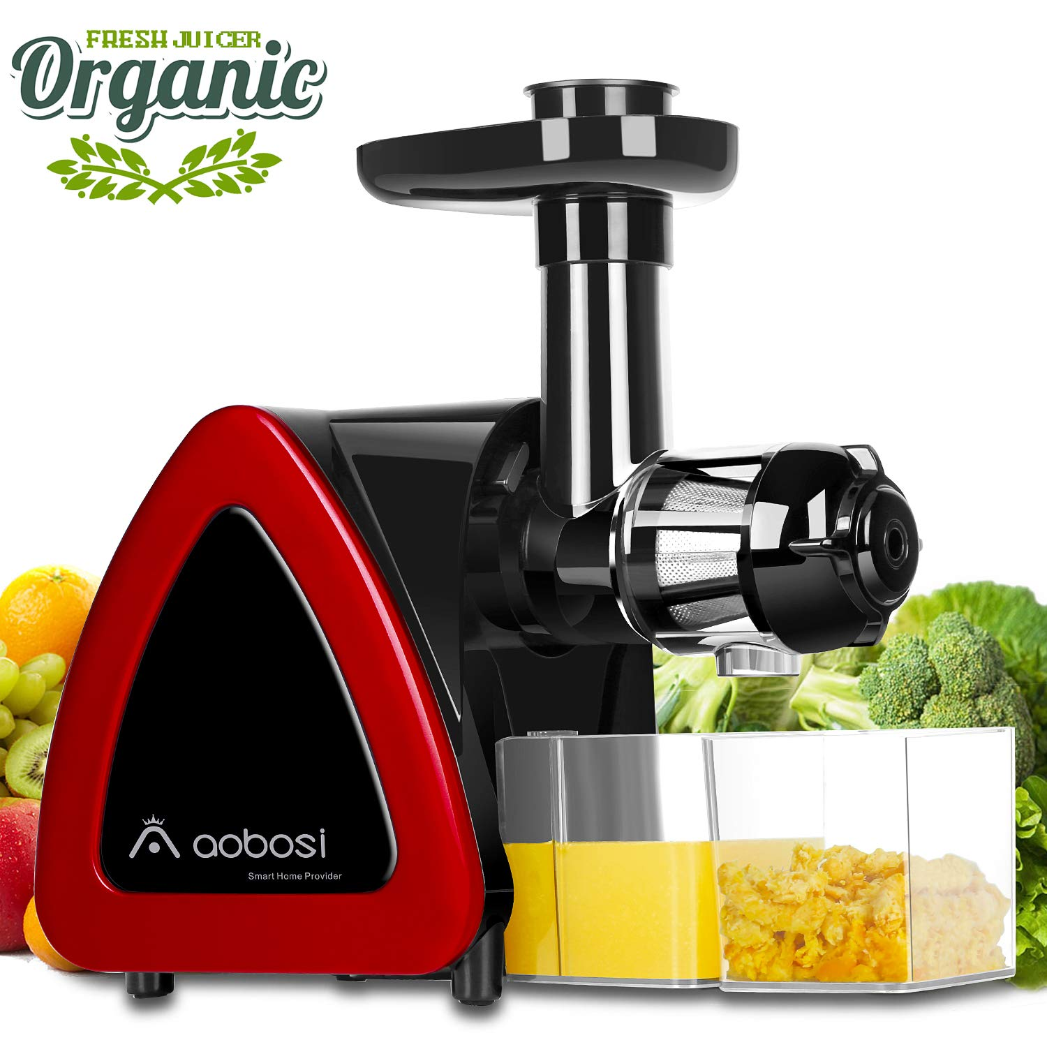 Aobosi Slow Masticating juicer Extractor, Cold Press Juicer Machine, Quiet Motor, Reverse Function, High Nutrient Fruit and Vegetable Juice with Juice Jug & Brush for Cleaning
