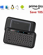 Colorful backlit Mini Wireless Keyboard H20 with Touchpad Mouse Combo,7 Color Adjust Auto-rotation of Touch Panel handheld Remote Control,Li-ion Battery Air Remote Mouse for PC,Android Tv Box,HTPC.IPTV,PC