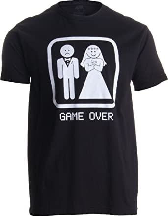 GAME OVER Adult Unisex T Shirt Groom Gift Bachelor Party Wedding Funny Tee