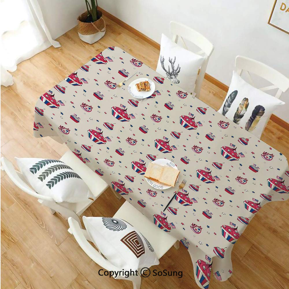USA Rectangle Polyester Tablecloth,Cupcakes with National Flags Cute Cafe Yummy Homeland July Fourth Caricature Decorative,Dining Room Kitchen Rectangle Table Cover,70W X 120L inches,Beige Navy Blue R by SoSung