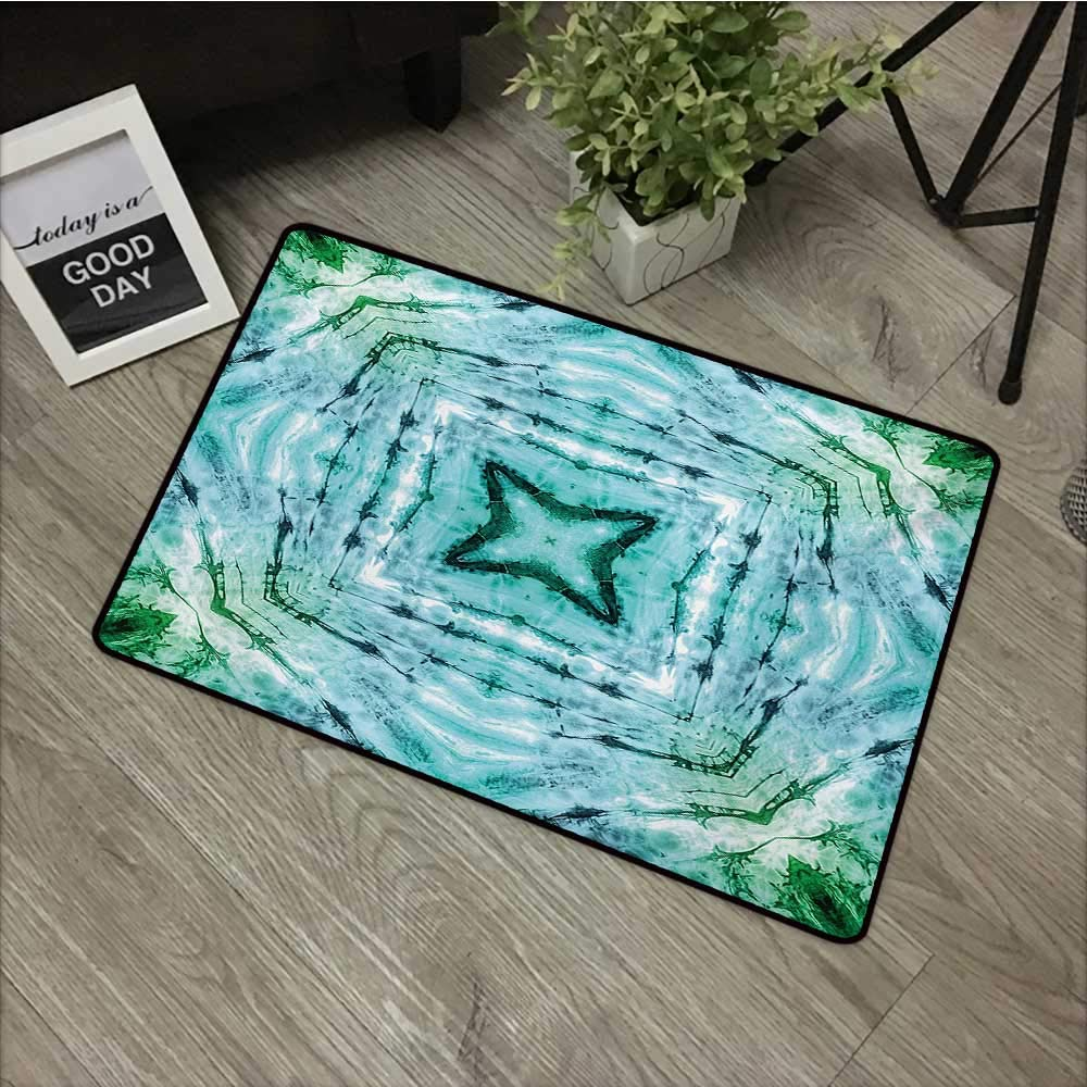 Colorful Painting Door mat Kaleidoscope,Star Inside Square Shaped Kaleidoscope Tie Dye Motive with Outer Figures Image,Teal Blue,for Entry, Garage, Patio, High Traffic Areas,30''x39'' by Moses Whitehead