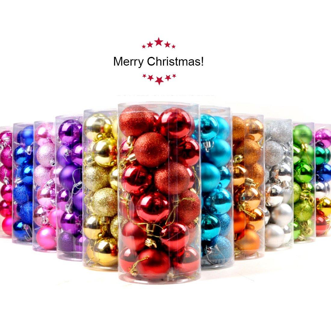 Ericoy 4cm/6cm Matte Shatterproof Christmas Trees Pendant Christmas Ball Ornament Set - 24 Pieces