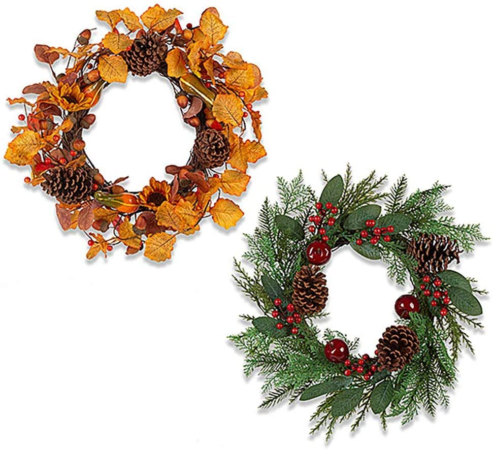Anderson's Fall and Christmas Wreath Set, 22 Inches, Holiday Decor, Set of 2