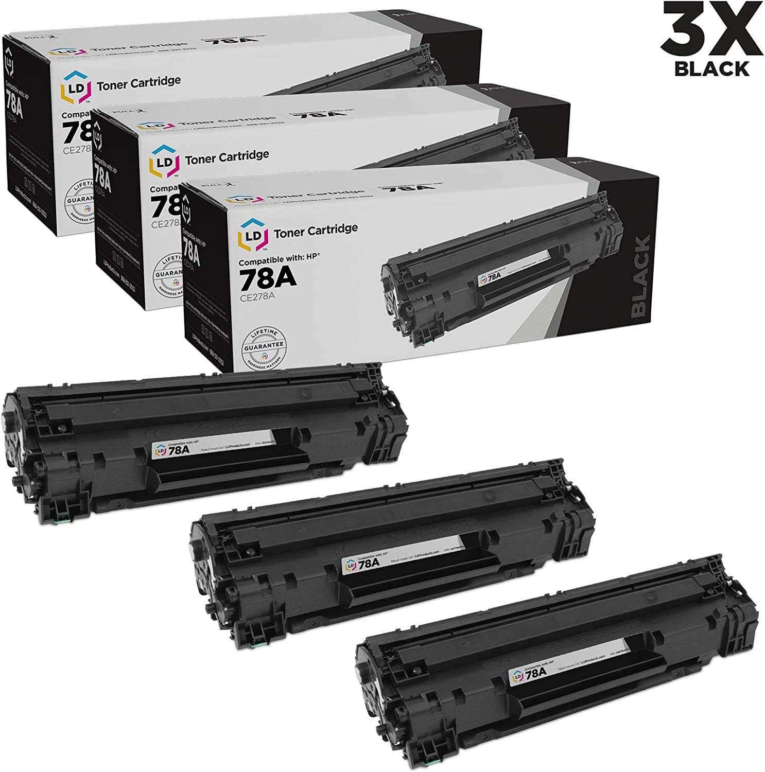 LD Compatible Toner Cartridge Replacements for HP 78A CE278A (Black, 3-Pack)