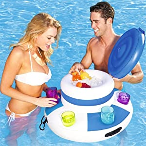 GQQG Inflatable Serving Bar Buffet Cooler with Lid Inflatable Buffet Salad Serving Trays Inflatable Beer Cooler Salad Picnic Ice Food Server Indoor Outdoor BBQ Picnic Pool Party Supplies