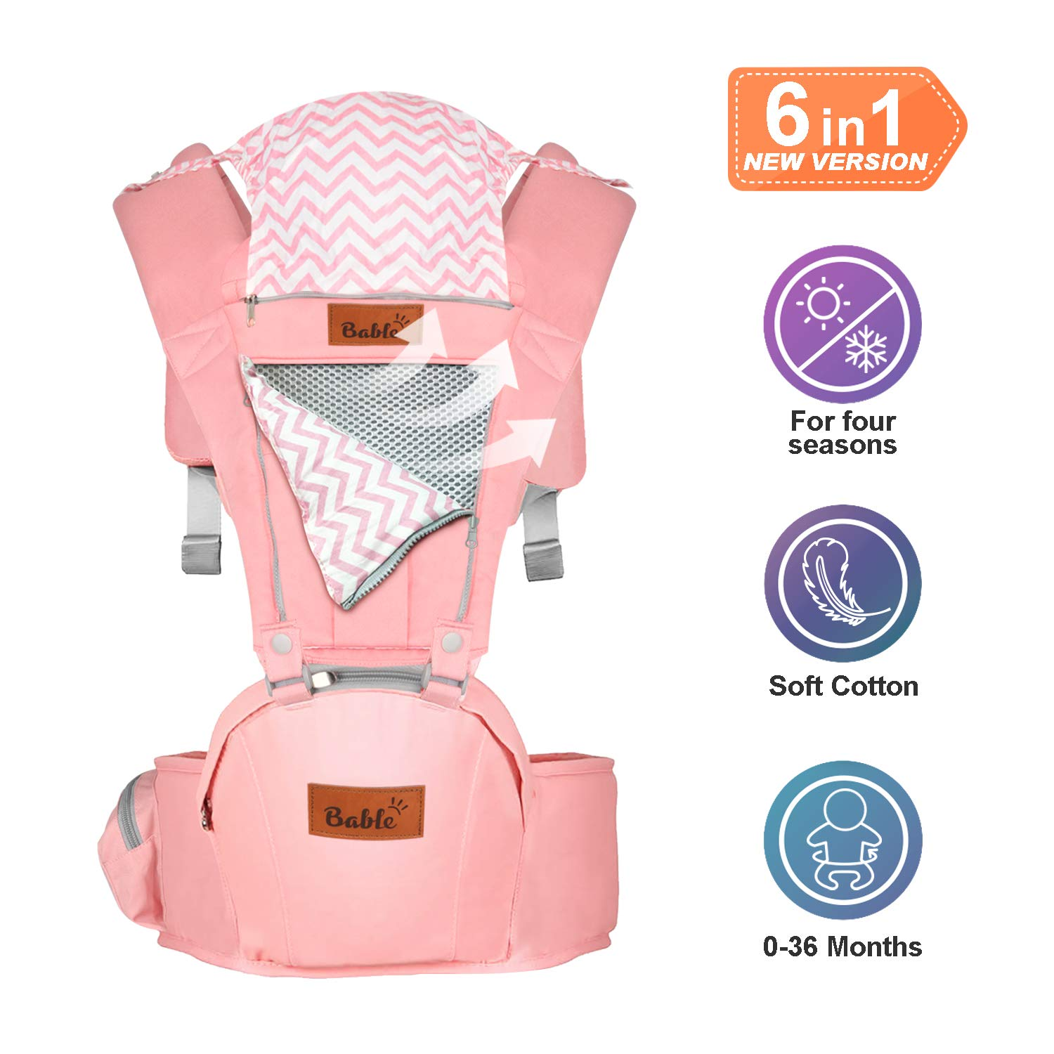 Bable Baby Carrier with Hip Seat, 360 Ergonomic Baby Carrier, Toddler Tush Stool for All Seasons, Soft Baby Sling No Infant Insert Needed - Adapt to Newborn, Infant Hiking Backpack Carrier