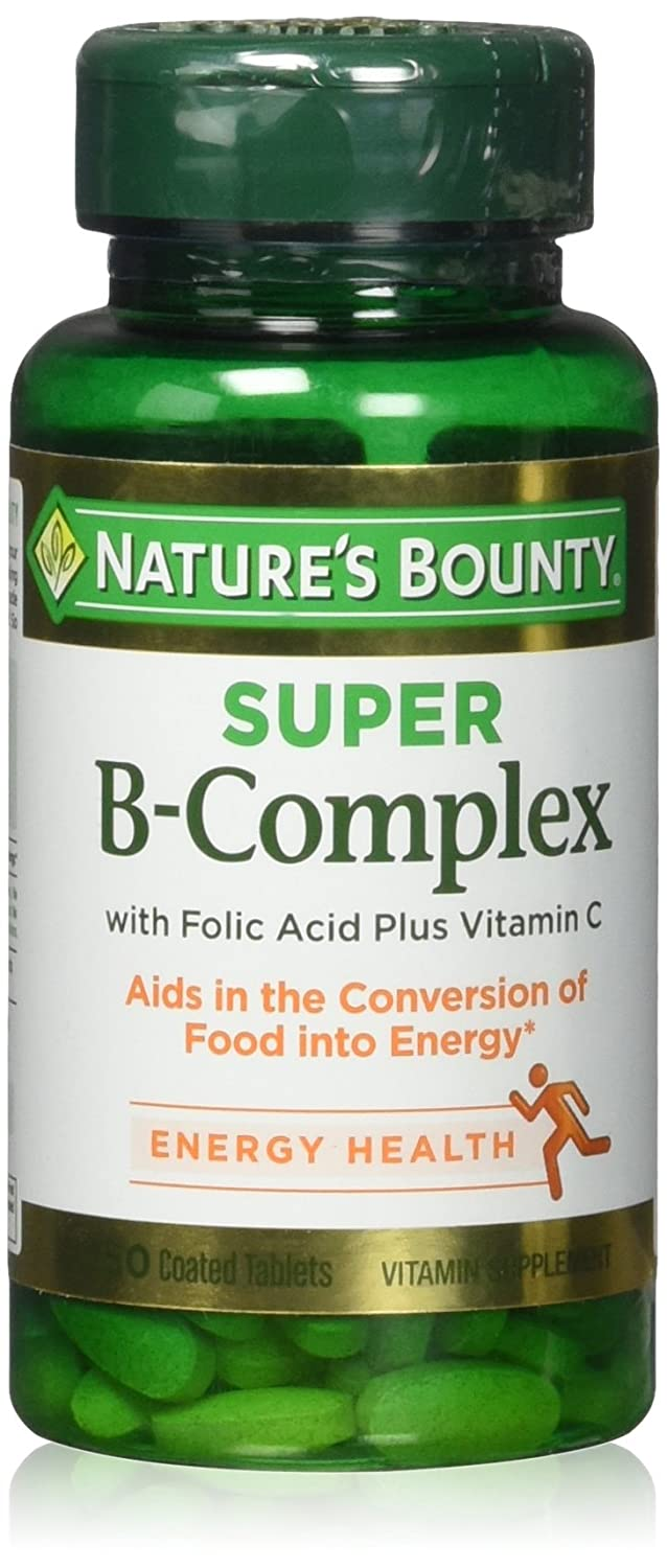 Nature s Bounty B-Complex with Folic Acid Plus Vitamin C, Tablets 150 ea Pack of 2