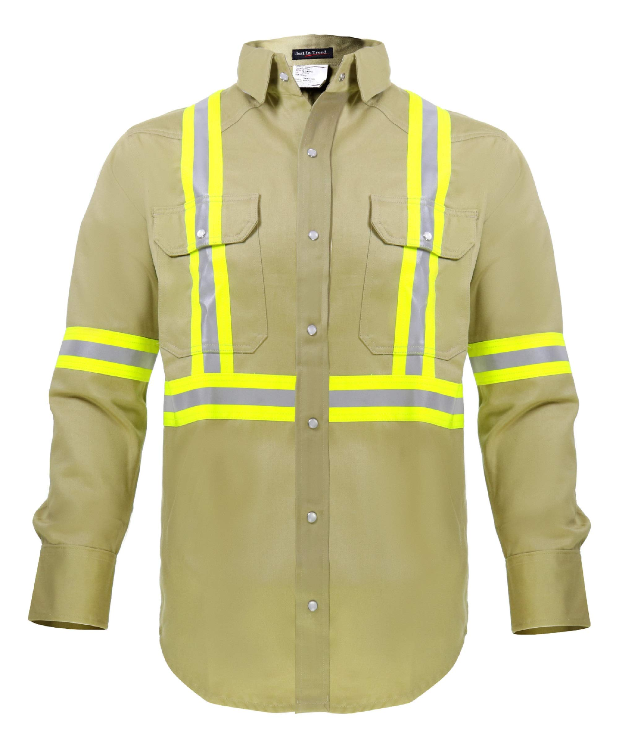 Flame Resistant High Visibility Hi Vis Shirt - 100% C - 7 oz (Large, Khaki) by Just In Trend