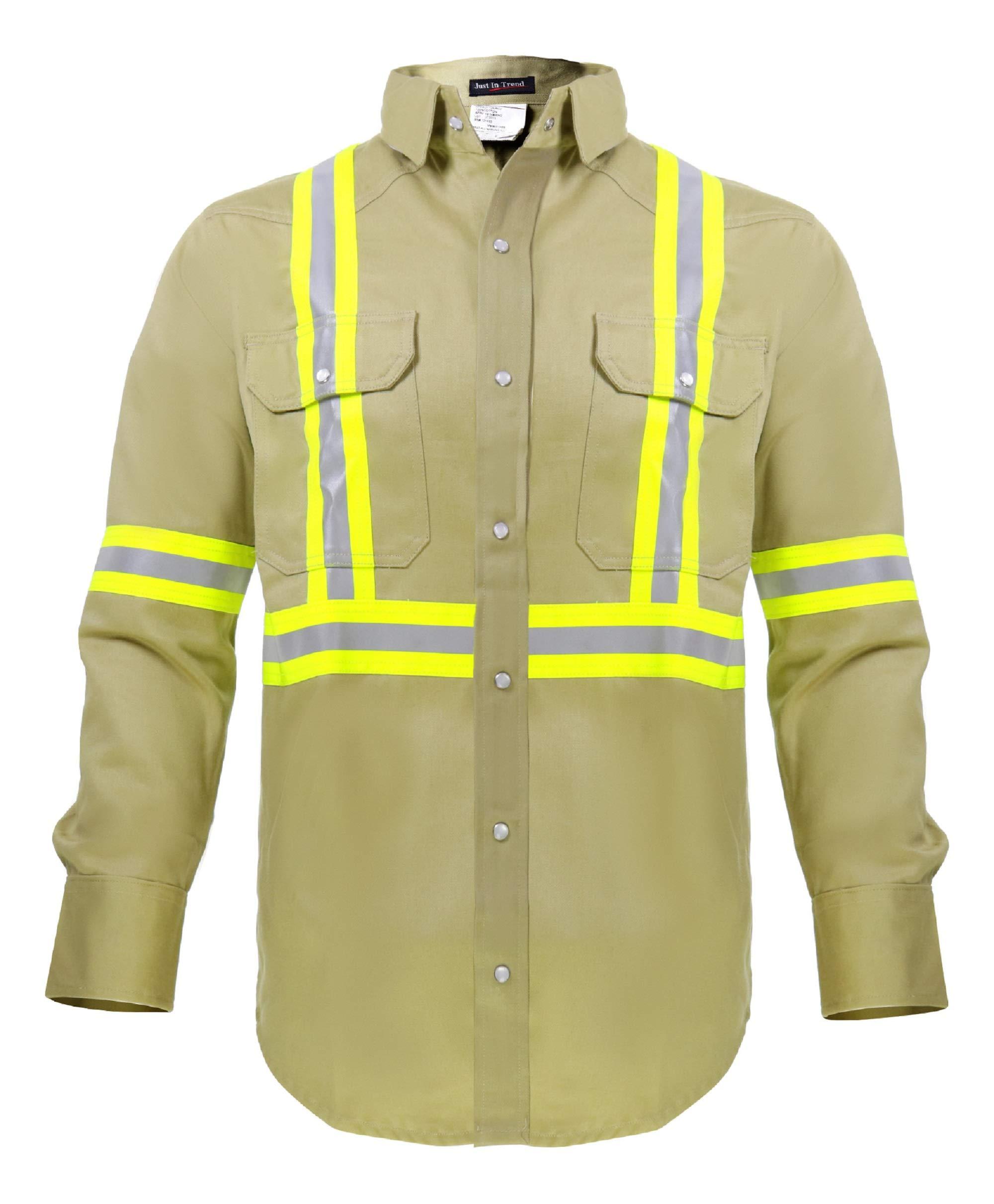 Flame Resistant High Visibility Hi Vis Shirt - 100% C - 7 oz (Large, Khaki)