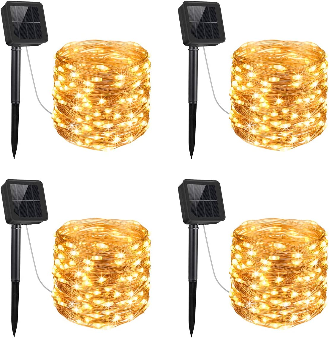 AMIR Upgraded Solar String Lights, 4 Pack 33ft Mini 100 LED Outdoor String Lights, Waterproof 8 Lighting Modes Solar Decoration Lights for Gardens, Patios, Homes, Parties Warm White
