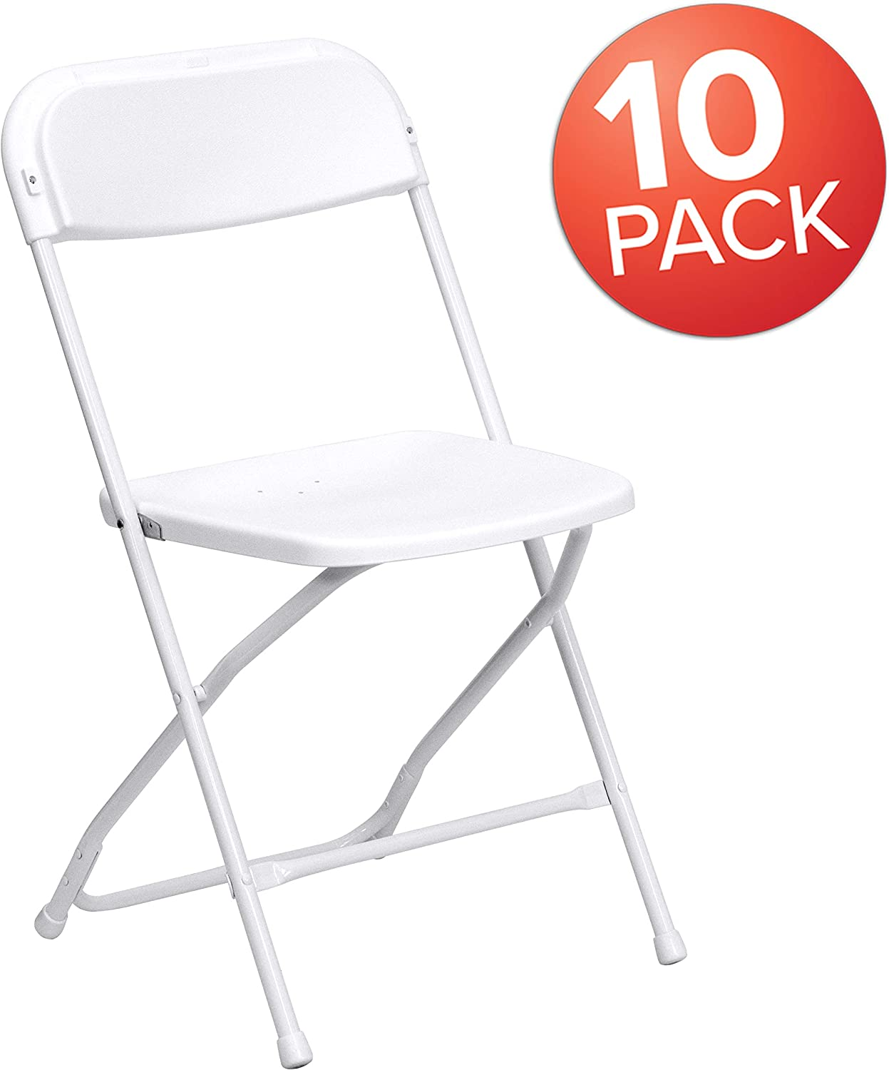 Flash Furniture HERCULES Series 650 lbs capacity Premium Plastic Folding Chair - White (10 Pack): Furniture & Decor