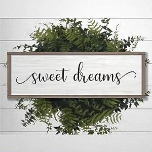 DONL9BAUER Framed Sign Sweet Dreams Sign Farmhouse Decor Wood Sign Plaque Wall Hanging, Wall Plaque, Boy Nursery Decor, Kids Room Wall Art, Baby Wall Art Home Decor