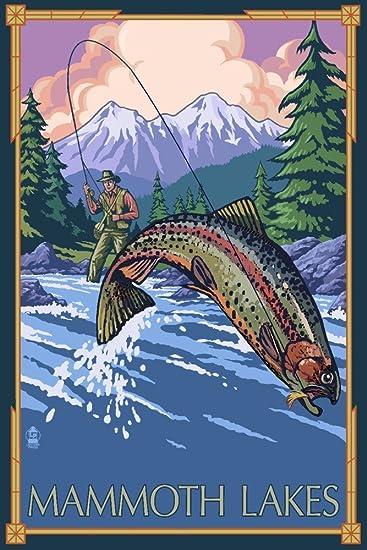 Amazon com: Mammoth Lakes, California - Fly Fishing (12x18