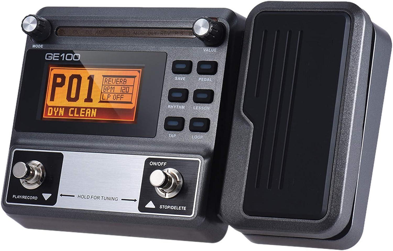 ZXCV Procesador multiefectos de Guitarra, Pedal de Efectos, con grabación en Bucle Pantalla LCD de Alto Brillo