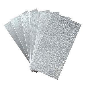 "Art3d 100-Pieces Peel and Stick Tile Kitchen Backsplash Metal Wall Tiles, 3""x6"" Brushed Aluminium Subway"