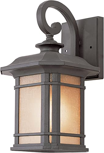 Trans Globe Imports 5820 BK Transitional One Light Wall Lantern from San Miguel Collection in Black Finish, 8.00 inches
