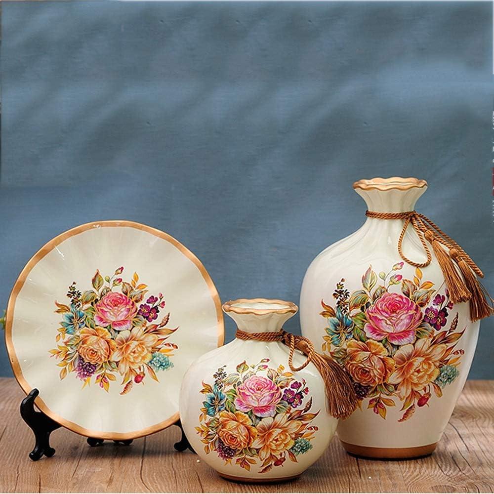 LINGS Vasi in Ceramica Set di 3 Pezzi Cento Fiori Aperti Vasi Classici Cinesi per Decorazioni per la casa per Soggiorno e Ufficio Miglior Regalo e Oggetti dArte