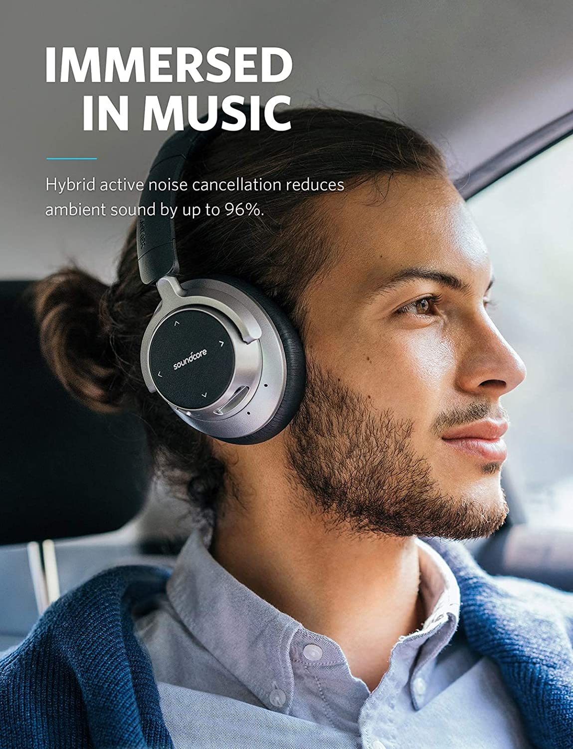 2855b92c667 Soundcore Space NC Wireless Noise Cancelling Headphones by Anker with Touch  Control, 20-Hour Playtime, Bluetooth 4.1, Foldable Design for Travel, Work,  ...