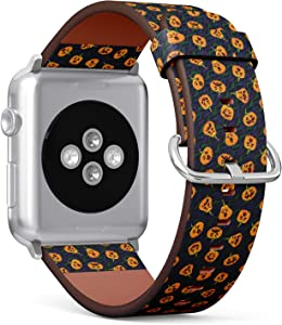 Compatible with Small Apple Watch 38mm & 40mm - (Series 5, 4, 3, 2, 1) Leather Watch Wrist Band Strap Bracelet with Stainless Steel Clasp and Adapters (Pumpkin Halloween)