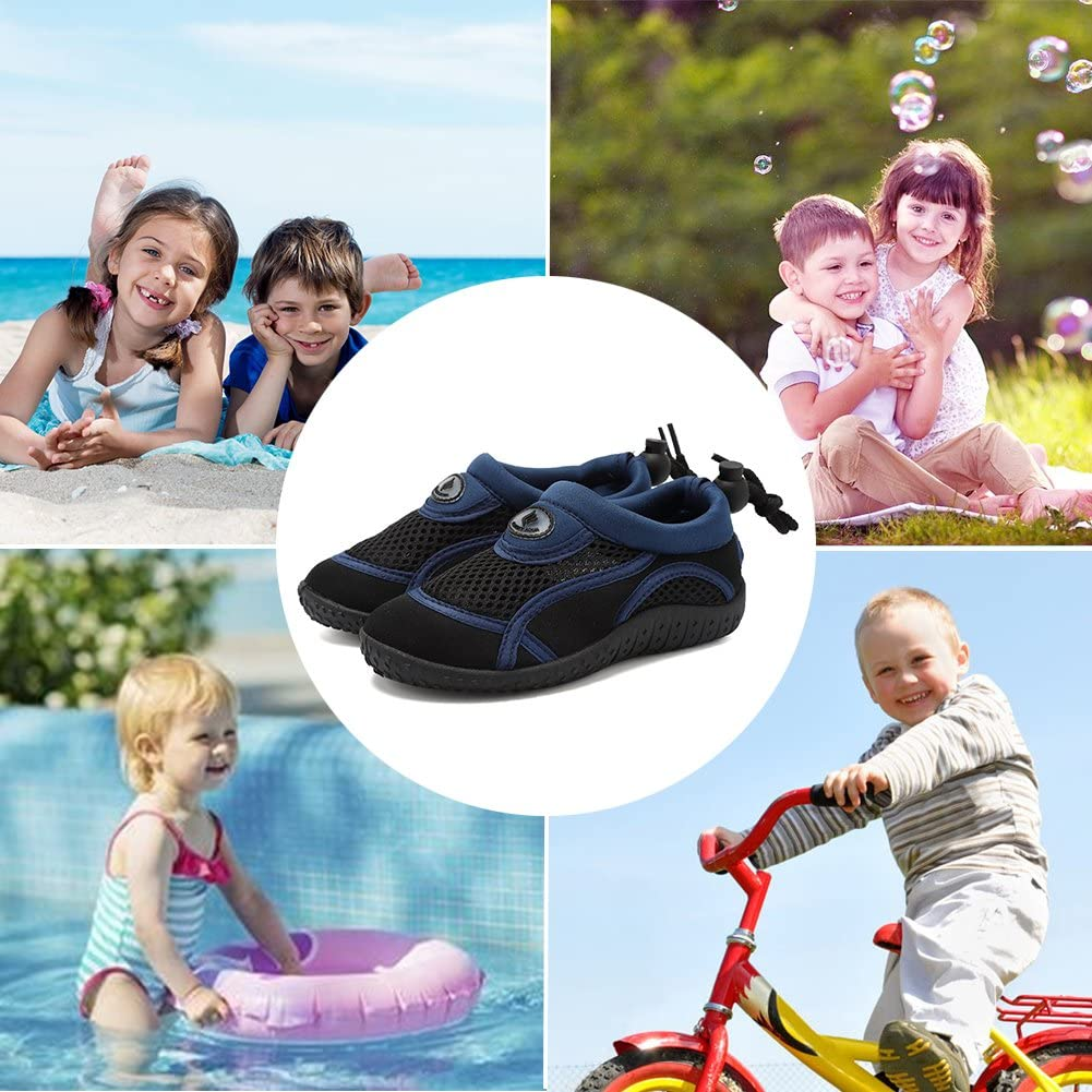FANTURE Toddlers Water Shoes Aqua Socks Athletic Swim Pool Beach Sports Quick Drying for Baby Boys and Girls Kids