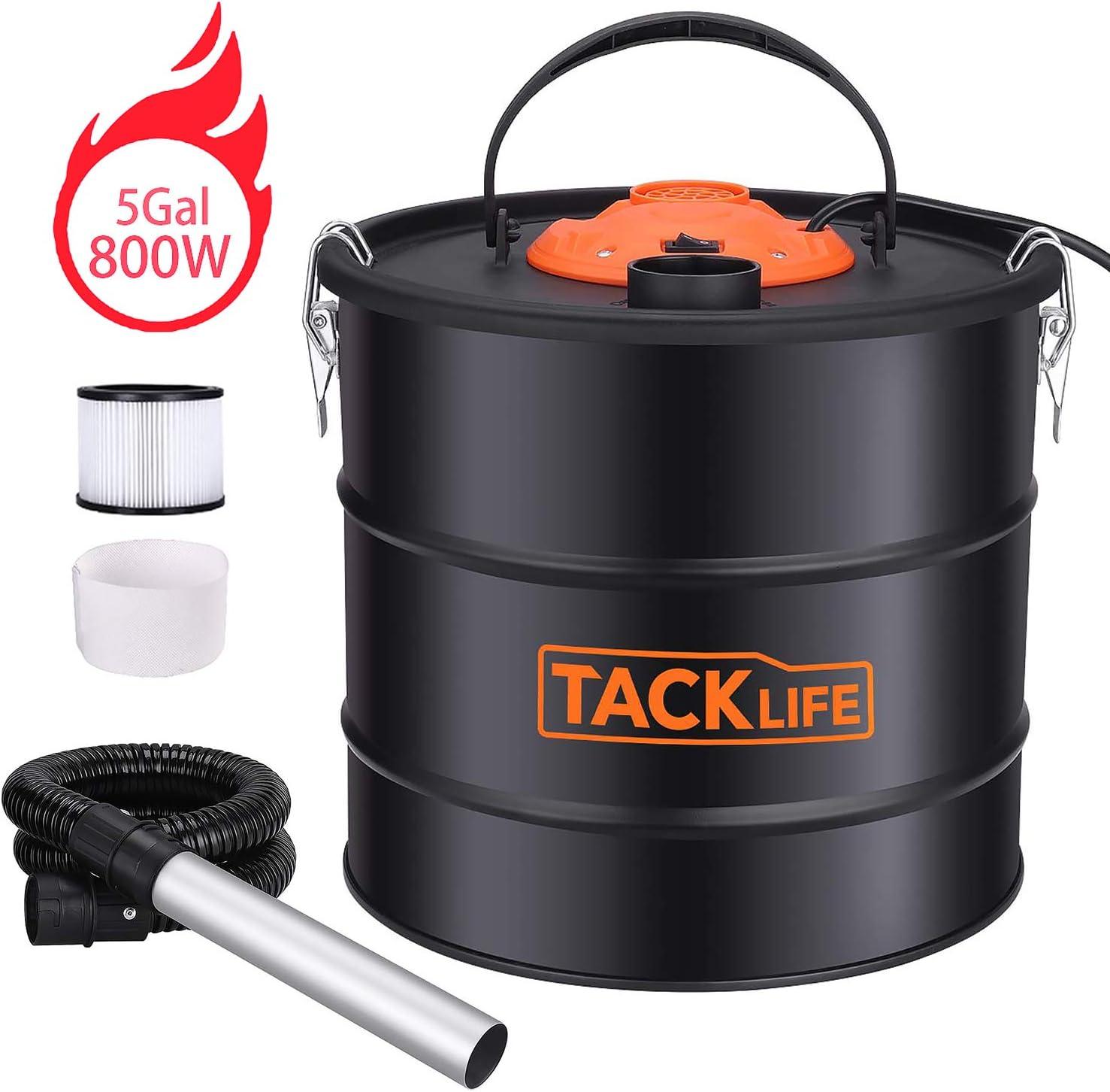 Ash Vacuum Cleaner TACKLIFE, 800W 120V 5Gal 3.3 ft Hose+7.9in Tube, Debris/Ash Collector PVC03A