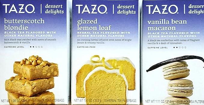 Butterscotch Blondie, Glazed Lemon Loaf, Vanilla Bean Macaron - Tazo Dessert Delights Tea - Variety Pack of 3
